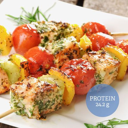 Marinated Salmon and Vegetable Skewers (Paleo)