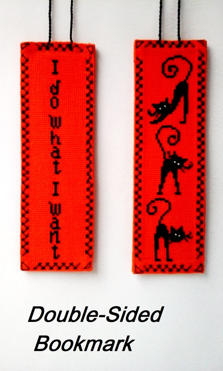 """Cat lover gift bookmark, Crazy cat lady gift.  With this unique double-sided bookmark reading will be a lot of fun for you! This bookmark has two sides. The other side says """"I do what I want"""". Two sides connected together with a decorative stitch. You can use this bookmark as a decoration as well. #bookmark #cat_lady_gift #crazy_cat_lady #embroidery_cats"""
