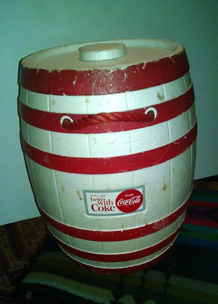 rare vintage coca cola red white barrel styrofoam cooler
