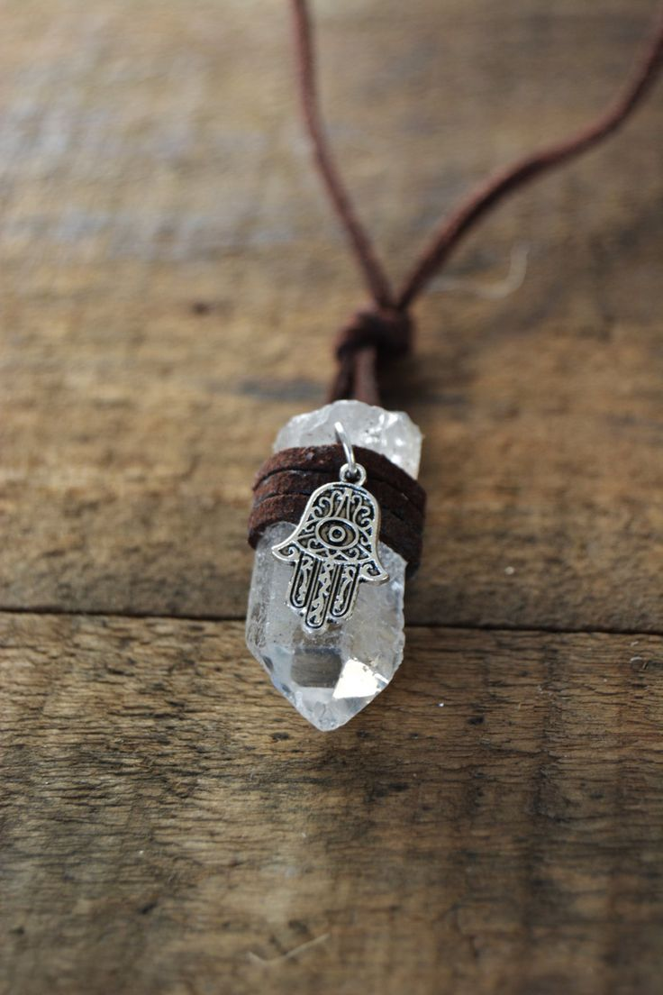 Hamsa Hand Crystal Wrapped Necklace - boho bohemian jewelry zen spiritual gypsy tumblr hipster gemstone natural stone white crystal by HandmadeByHillaaryy on Etsy