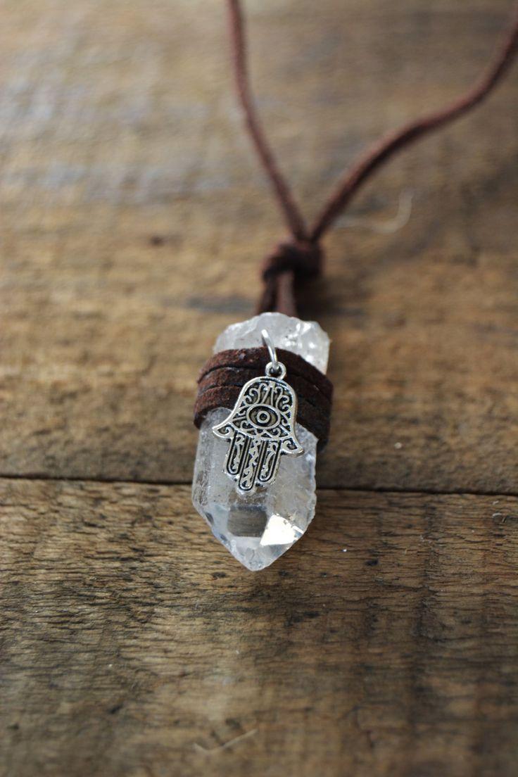 Hamsa Hand Crystal Wrapped Necklace - boho bohemian jewelry zen spiritual gypsy…