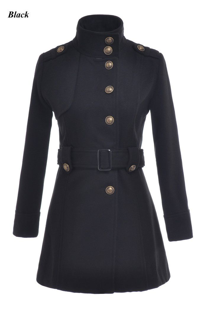 Military Uniform Standing Collar Trench Coat | Military Style