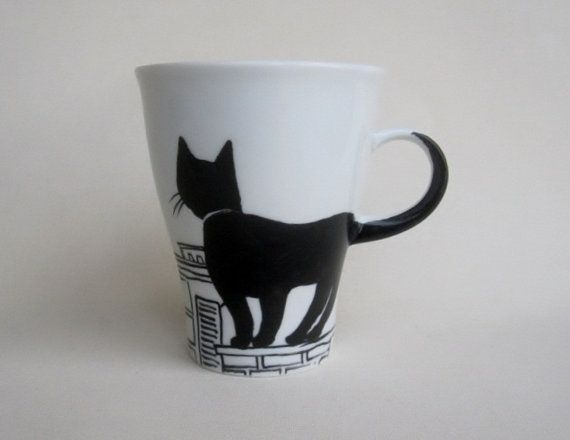 Black Cat on rooftop   Handpainted Porcelain  by houseofharriet, $39.00