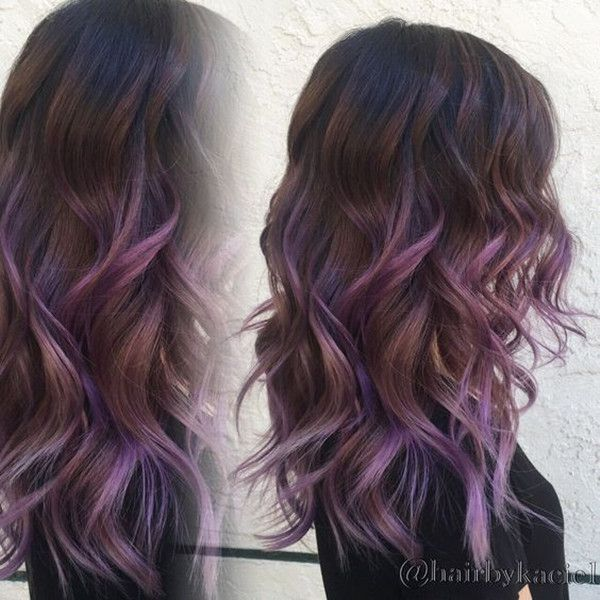Elegant wavy brown hair with light purple highlights, nice style for this season
