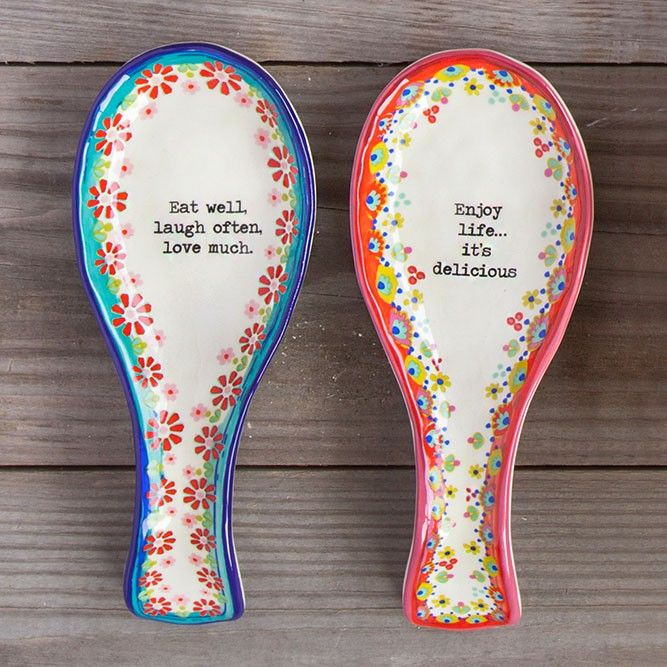 Ceramic Spoon Rests - These hand painted, ceramic spoon rests are the perfect gift for your favorite cook! Colorful floral designs and cute sentiments will fill any kitchen with lots of color and love!