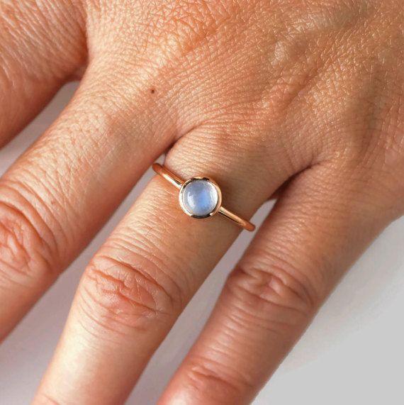anello di pietra di luna pietra di luna anello oro rosa