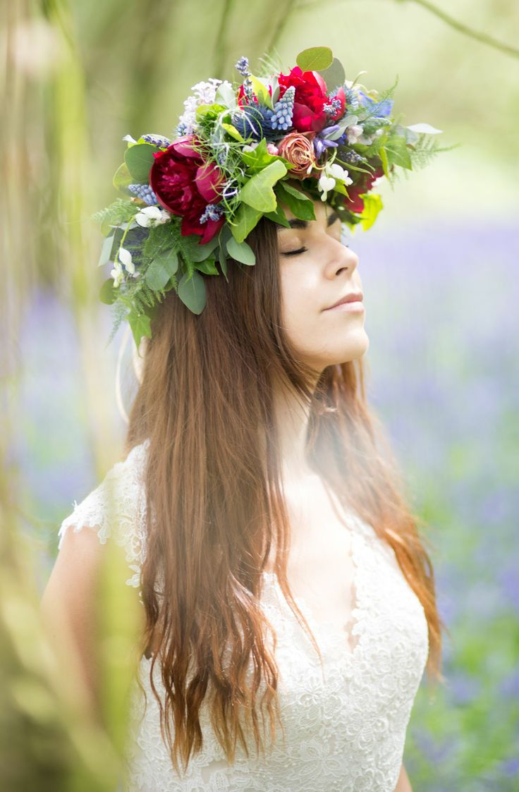Dress from www.bridalb.com/surrey  Photo by http://jessicajillphotography.com  Bridal crown of Upper Secret Roses, Green Amaranths, Muscari, Euringium, dried Lavender, and red Peonies, designed and created by www.hannahberryflowers.co.uk