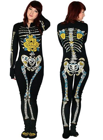Sugar Skeleton Footed Pajamas | PLASTICLAND. Would be a great costume with