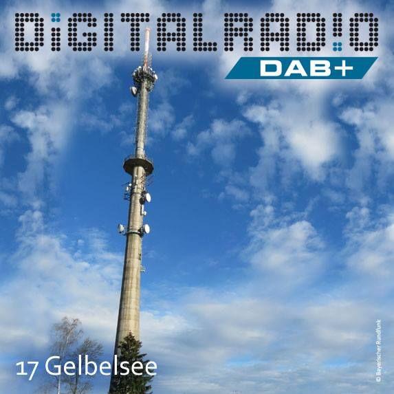 (17) Gelbelsee/Oberbayern * Sendeanlage des Bayerischen Rundfunks liegt in der Gemeinde Denkendorf im Landkreis Eichstätt * heutiger Stahlbetonturm mit einer Höhe von 112 Metern wurde 1979 errichtet * erste DAB-Ausstrahlungen wurden bereits 1994 im Rahmen des BR-Feldversuchs durchgeführt * aktuell werden die DAB+ Kanäle 5C, 10D, 11A und 11D von hier ausgesendet *