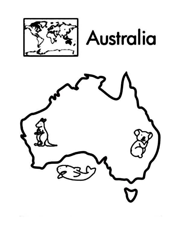 Australia continent in world map coloring page printable for Australia map coloring page