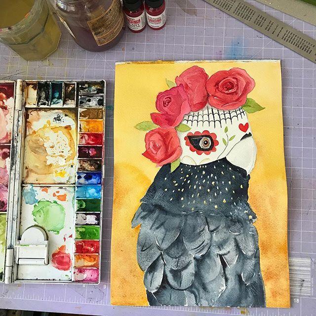 Watercolour illustration, Day of the Dead Black Cockatoo