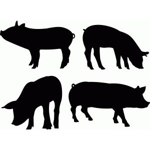 Silhouette Design Store - View Design #79657: pig set
