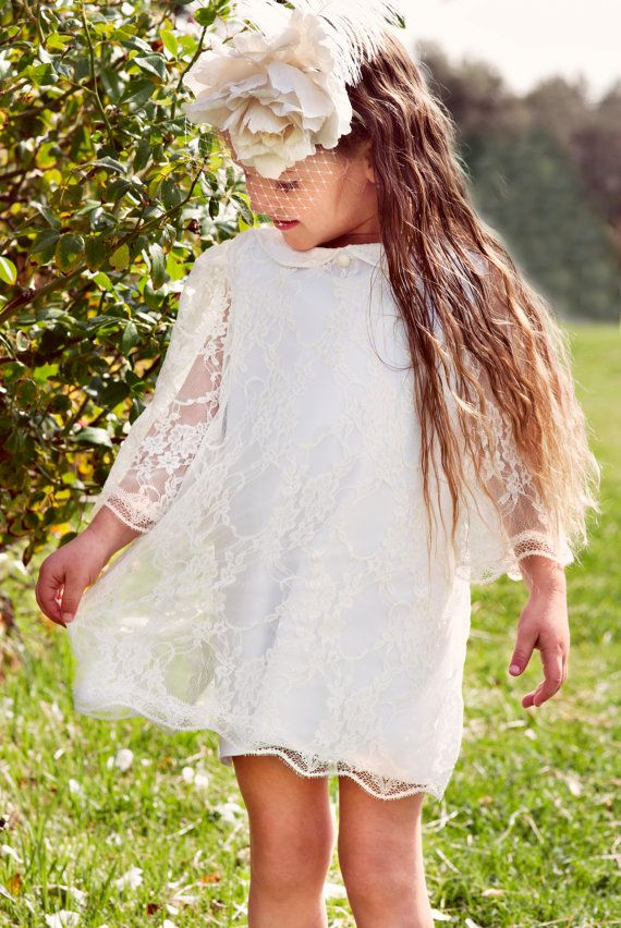 Wedding Flower Girl White Lace Dress for girls and toddlers
