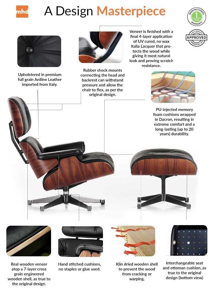 Classic Lounge Chair Ottoman Brown Eames Lounge Chair Replica