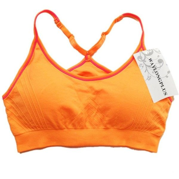 WAYLONGPLUS Wireless Sport Bra Racerback Seamless Workout Gym Yoga Bra... (28 BRL) ❤ liked on Polyvore featuring activewear, sports bras, seamless sports bra, orange sports bra, racerback sports bra, yoga sports bra and yoga activewear