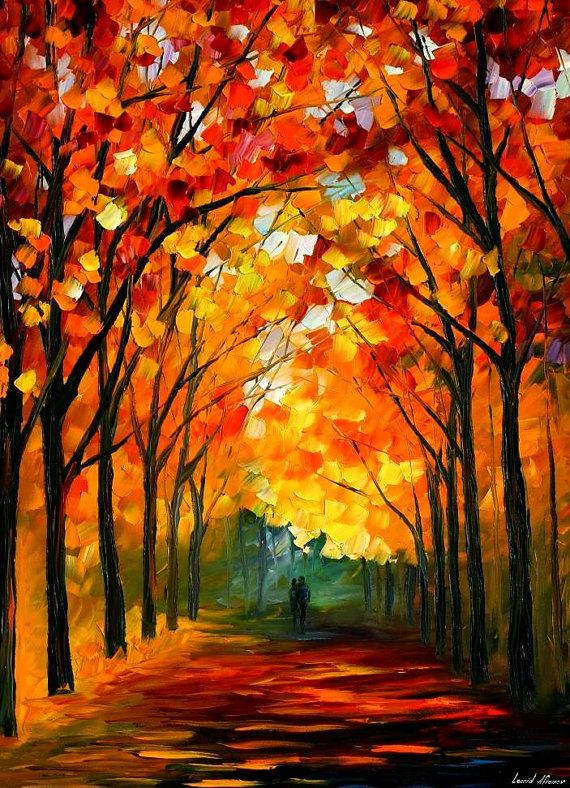"""Farewell To Autumn — PALETTE KNIFE Landscape Modern Wall Art Oil Painting On Canvas By Leonid Afremov - Size: 30"""" x 40"""" (75 cm x 100 cm)"""