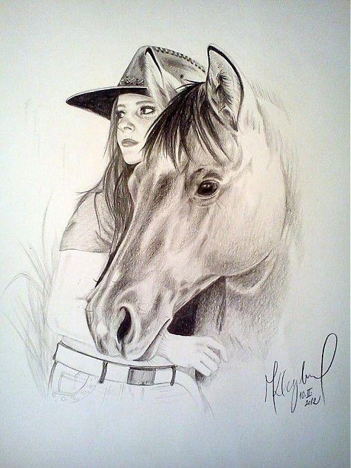 Картинки лошадей с девушками для срисовки