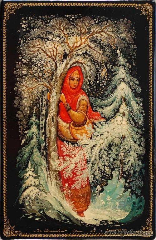 """Сказка """"Двенадцать месяцев"""", Маршак С.Я. http://russkaja-skazka.ru/dvenadcat-mesyacev/ Заплакала девочка, закуталась в рваный платок и вышла из дверей. Ветер снегом ей глаза порошит, платок с неё рвёт. Идёт она, еле ноги из сугробов вытягивает. Всё темнее становится кругом. Небо чёрное, ни одной звёздочкой на землю не глядит, а земля чуть посветлее. Это от снега...  #сказки #картинки #ДвенадцатьМесяцев #art #Russia #Россия #добро #дети  #иллюстрации #paint #картины #художник…"""
