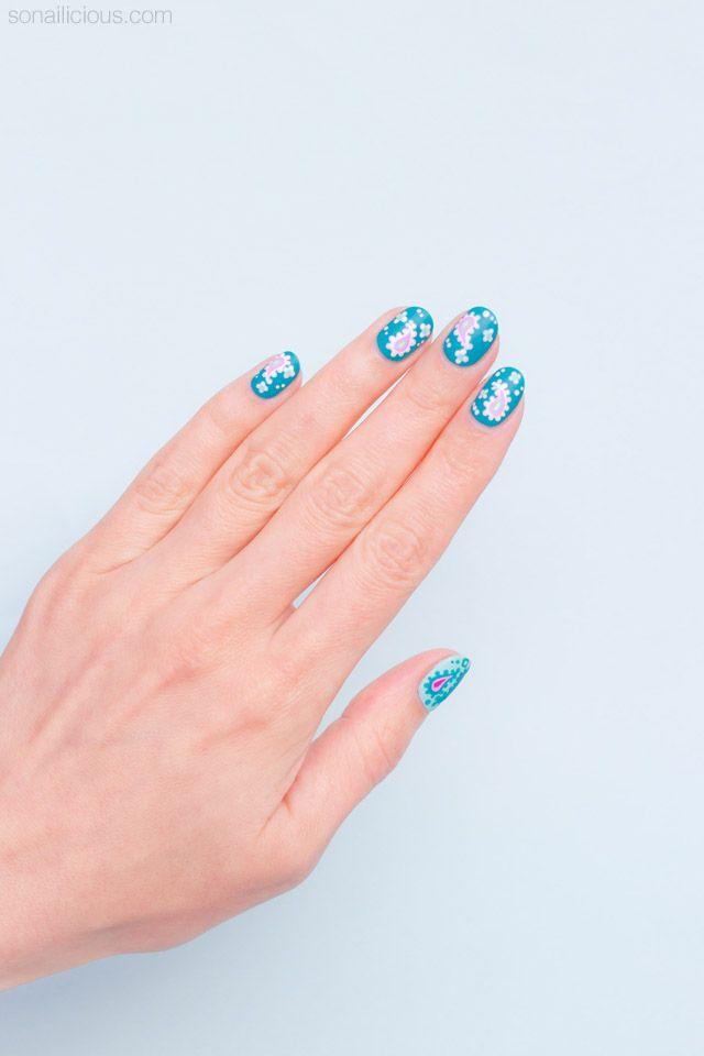 Pretty paisley nail art for short nails: http://sonailicious.com/paisley-nail-art-for-short-nails/