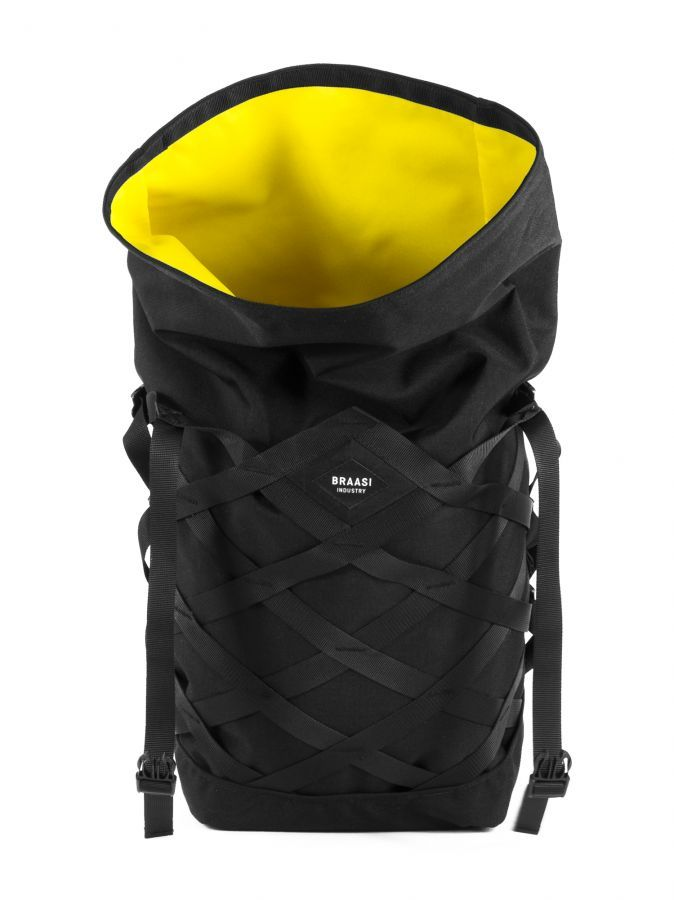 "WATER RESISTANT URBAN BACKPACK WITH ADJUSTABLE NYLON WEBBING CENTER CLOSING BUCKLES (YKK) SUITABLE FOR NOTEBOOK 14"", VOLUME 28 L DIMENSIONS H*W*D: 71(57)*30*16 CM (CLOSED) UPPER FABRIC: CORDURA 1100D LINING: YELLOW FABRIC (100% PES) WITH NOTEBOOK POCKET BOTTOM: CORDURA 1100D HARDWARE: YKK (ZIPPER, BUCKLE) BACKSIDE POCKET FOR WALLET, PHONE, IPAD AIR (30*27 CM) PADDED BACK AND THRACIANS"