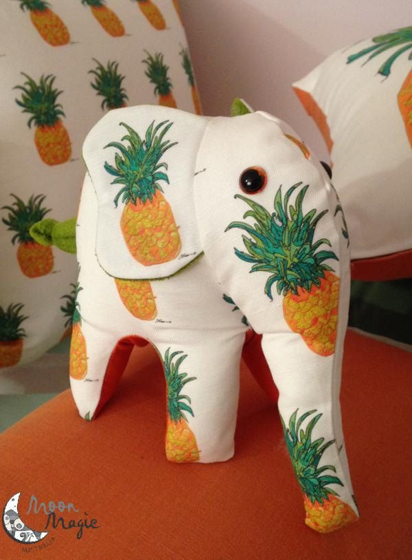 Elephant Toy Soft Elephant Toy Stuffed Elephant I Love Elephants Children 3yrs and over Plushie Pineapple Cotton Linen Fabric Artist Design by MoonMagicAustralia on Etsy