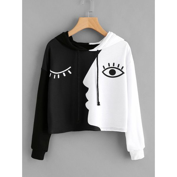 Contrast Face Print Hoodie ($7.99) ❤ liked on Polyvore featuring tops, hoodies, mixed print top, patterned tops, pattern hoodie, hoodie top and sweatshirt hoodies