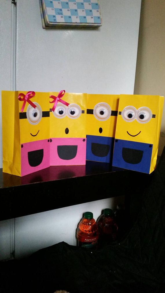Minion treat bags girl pink by decorVega on Etsy