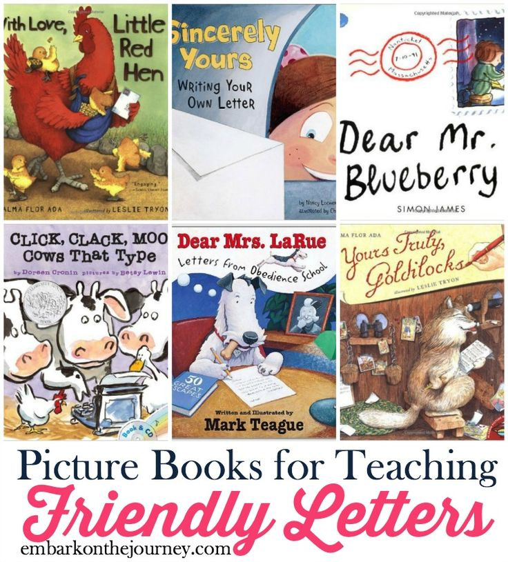 Picture books bring academic lessons to life. Use this list (and my free printable mini-pack)  to further illustrate friendly letters in your homeschool and classroom lessons. | embarkonthejourney.com