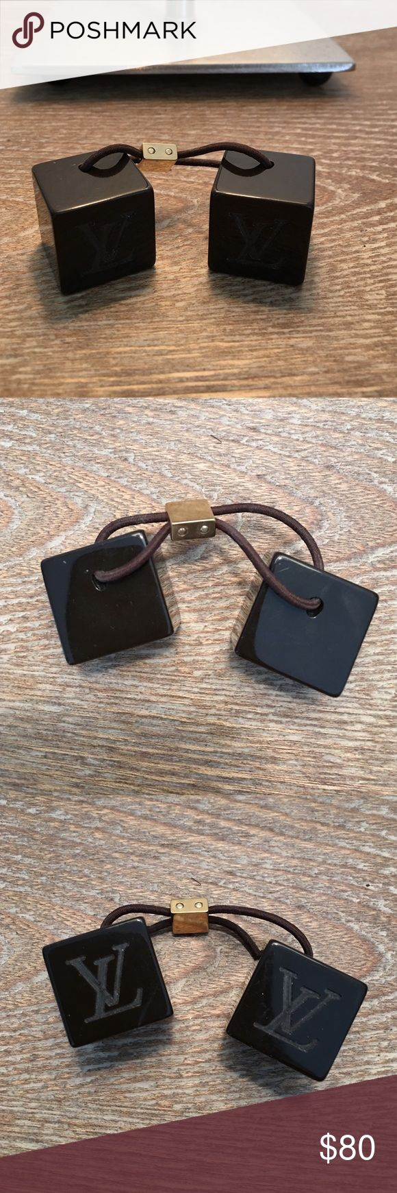 Louis Vuitton Hair Cubes 💯% Authentic ⚡️⚡️ EUC!! Hardly ever worn. Brown in color. So chic!! Louis Vuitton Accessories Hair Accessories