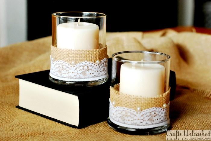 Embellished Burlap and Lace Candle Vase