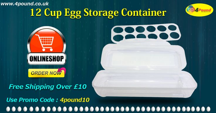 Buy 12 Cup Egg Storage Container for just £2.37. Order today to get 10% off only for you. Apply coupon code as 4pound10.   Multi Purpose 12 Cup Egg storage container.Remove the egg tray to store baguettes, Fish, bacon and more!.Freezer,fridge,microwave and dishwasher safe.Wash before use with warm soapy water.Microwave safe without the lid.Please remove lid before microwaving.   #eggstoragecontainer #4pound #manchester  http://www.4pound.co.uk/egg-storage-container