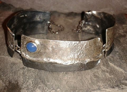 Silver and blue onyx 3 piece bracelet. Bade by Roche Designs