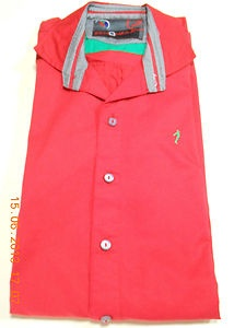 New Mens Luxury Stylish Casual Dress Slim Fit Shirts Casual Red Colours (L) Size