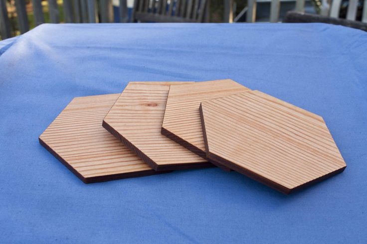 Reclaimed oregon pine hexagon coasters - $40