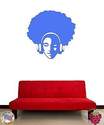 Wall Stickers Vinyl Decal Hippie Guy In Headphones In Blue Unique Gift z1153