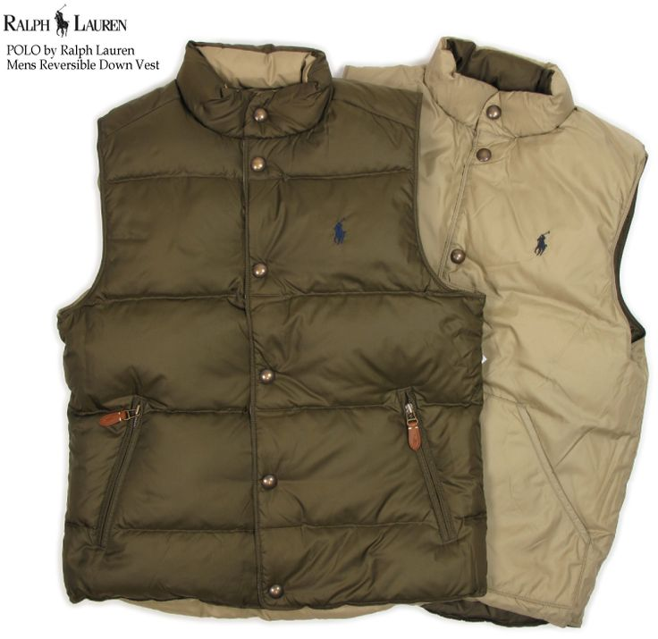 The POLO by Ralph Lauren Men's Reversible Vest US polo Ralph Lauren reversible down vest which falls