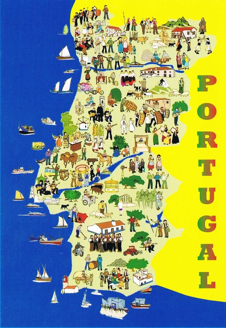 Portugal map with illustrations of each place's  traditions