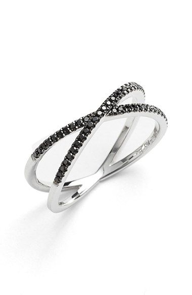 Women's Bony Levy Stackable Crossover Diamond Ring - Black Diamond/ White Gold (Nordstrom Exclusive)