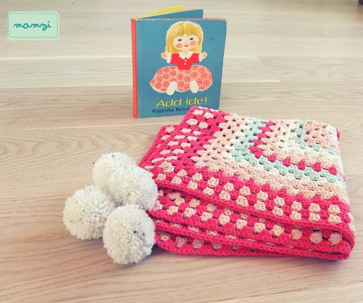 crochet baby blanket with pompoms https://www.etsy.com/your/shops/MamziGrannyChic