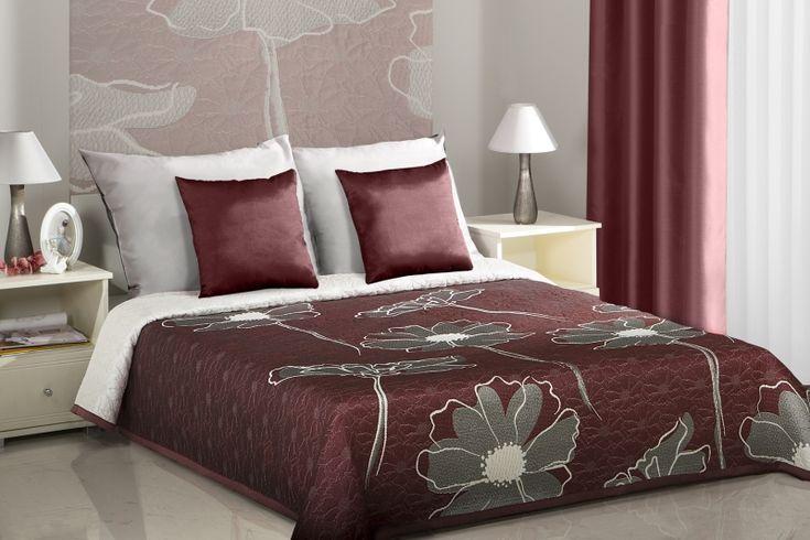Dwustronne modne narzuty do sypialni na łóżko w kolorze bordowym z kwiatami