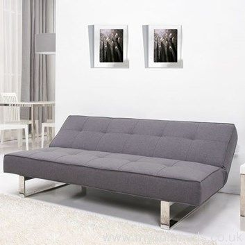 Padded Grey Sofa Bed With Chrome Feet. Minimalist Design. Free UK Mainland  Delivery.
