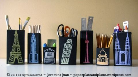 Cityscape chalkboard boxes - - using recyclables to create fun chalkboard boxes.  Cut/open juice and milk cartons, wash them thoroughly, cover in adhesive chalkboard or chalkboard paint --- and doodling away!  info found here: http://paperplateandplane.wordpress.com/2011/01/07/cityscape-chalkboard-boxes/
