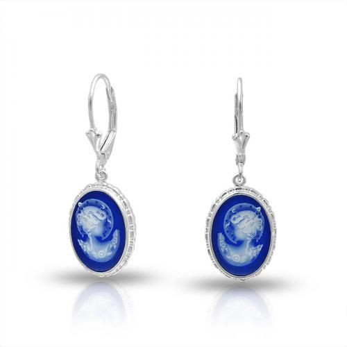 Bling Jewelry 925 Silver Wedgwood Influenced Blue Cameo Leverback Earrings