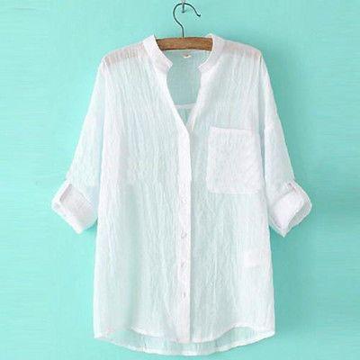 Дамские, женские повседневные рубашки с длинным рукавом хлопок и linenloose простая футболка топы блузка