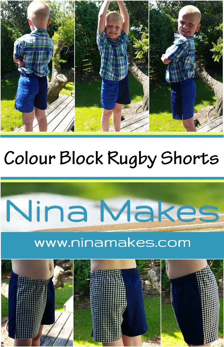 Boys Colour Block Rugby Shorts.  Tutorial and pattern altering instructions.