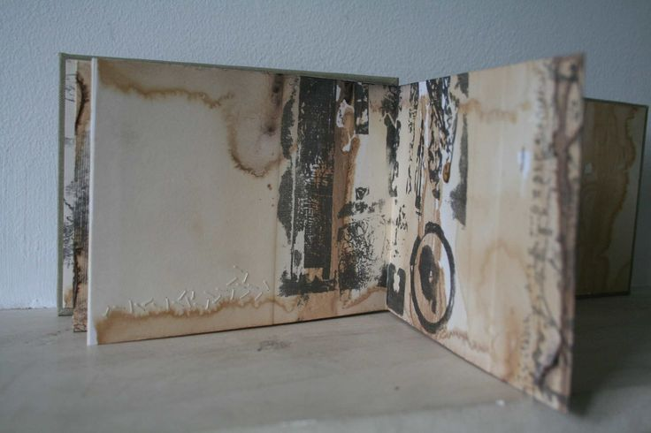 Alice Fox - The 'Tide Marks' artists book series explores the marks and patterns of material along the tide line of a beach. Layers of mark and texture are built up with rust print, collagraph print and hand stitch directly into the thick printmaking paper. The pages are then bound at each end of the concertina. http://alicefox.bigcartel.com/category/artists-book http://www.alicefox.co.uk/?cat=223 #artists_book