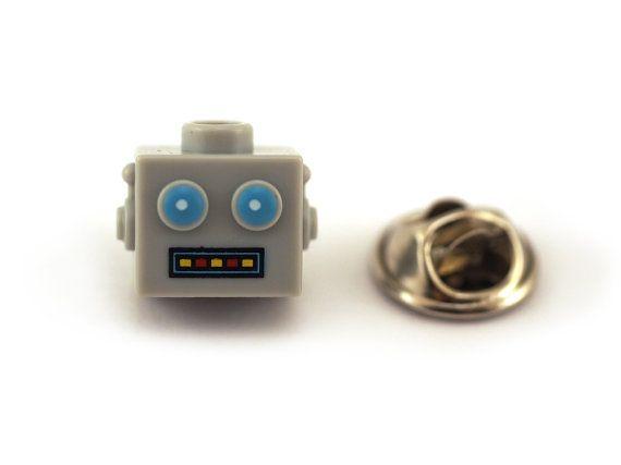 Clockwork Robot head Tie Pin Tie Tack Pin Men's Tie by Pinhero