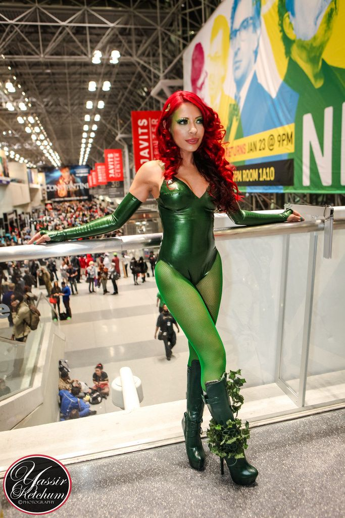 Pearlsheen metallic green latex Poison Ivy cosplay bodysuit with matching arm-warmers, boots, and tights.. DIY the look yourself: http://mjtrends.com/pins.php?name=pearlsheen-metallic-green-latex-sheeting