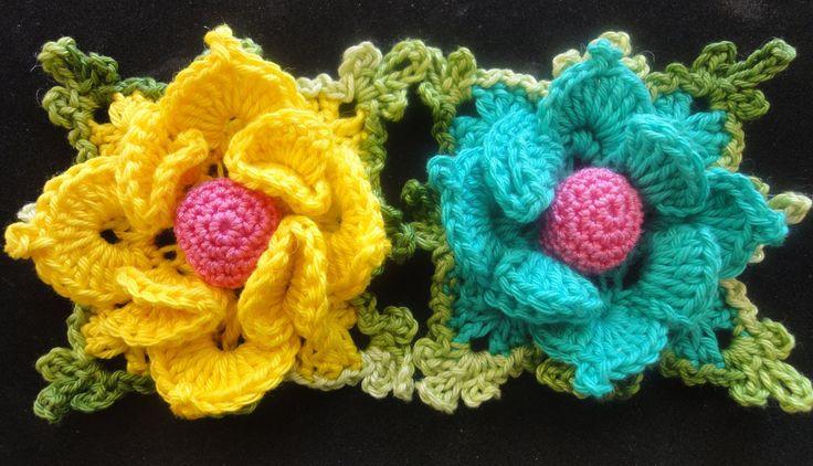 Объёмный цветок в квадрате Вязание крючком Volumetric flower squared Crocheting