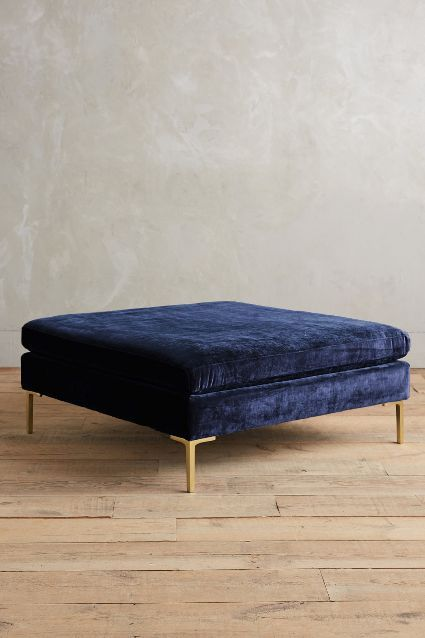 Slub Velvet Edlyn Ottoman - navy midnight blue with gold legs / interior design, home decor - anthropologie.com